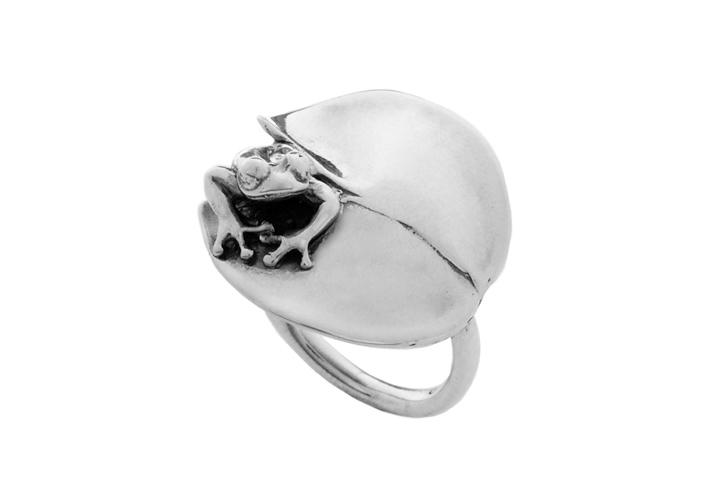 Silver The Hopper & Lilypad ring