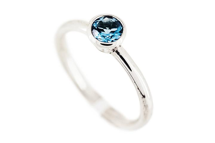 Blue Topaz (Deep) Silver Stacking Ring