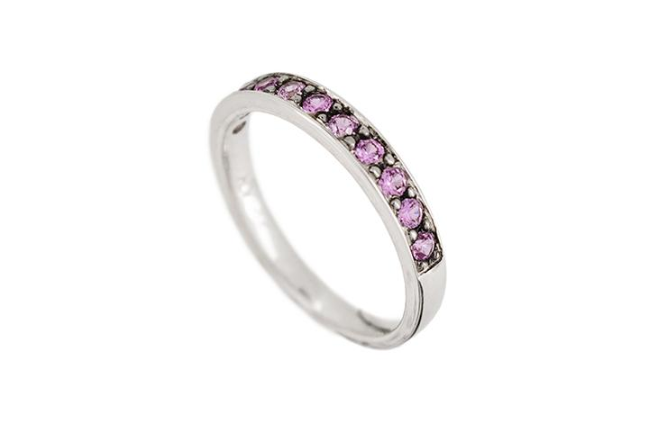 9ct White Gold Pink Sapphire Pavé Set Ring