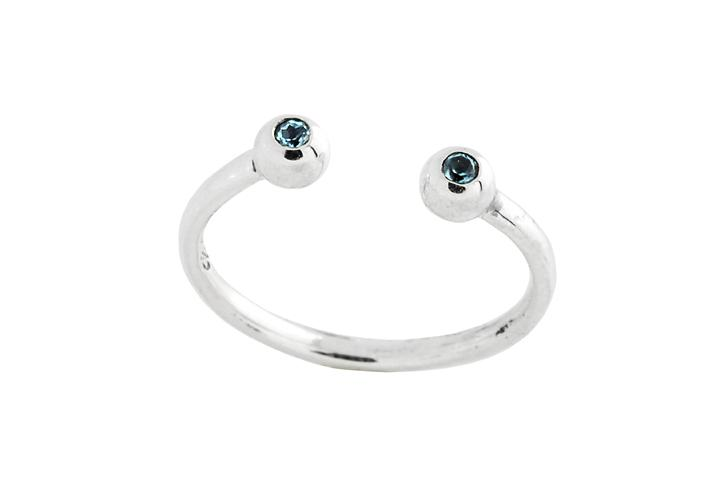 Silver Blue Topaz eye opener ring