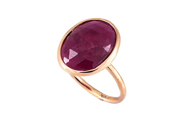 Ruby Slab Ring in 9ct Rose Gold