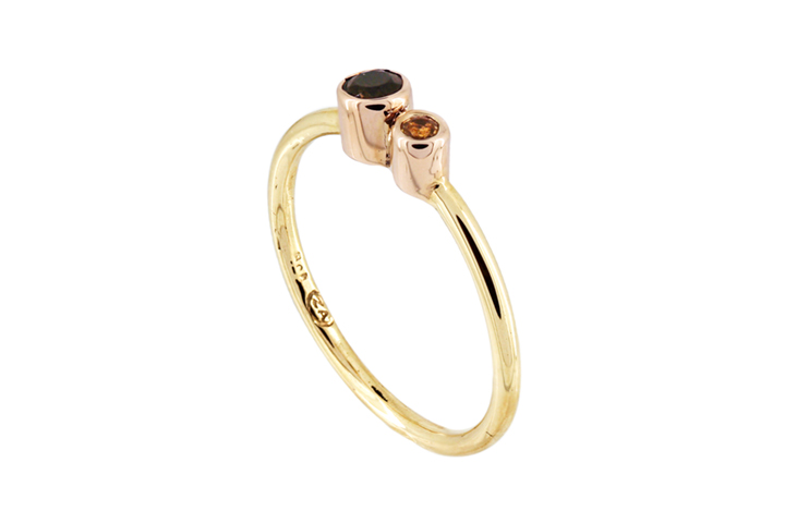 Citrine 9ct Gold Stacking Ring with Double Stone feature