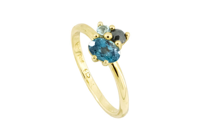 Blue Topaz and  Dark Grey Polki Diamond 9ct Yellow Gold Bouquet Ring