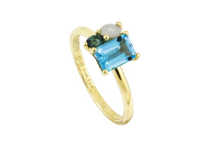 Blue Topaz, Tourmaline and White Polki Diamond 9ct Yellow Gold Bouquet Ring