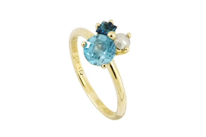 Blue Topaz, Square Tourmaline and White Polki Diamond 9ct Yellow Gold Bouquet Ring