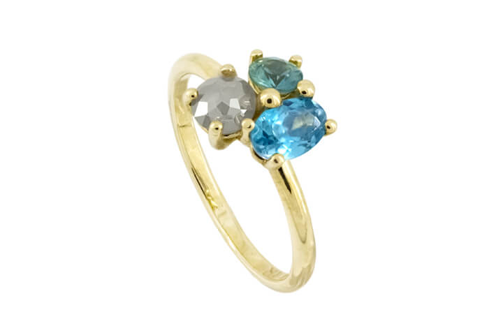 Blue Topaz, Green Sapphire and  Light Grey Polki Diamond 9ct Yellow Gold Bouquet Ring