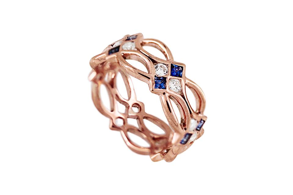 Blue Sapphire and Diamond Celtic Ring in 9ct Rose Gold