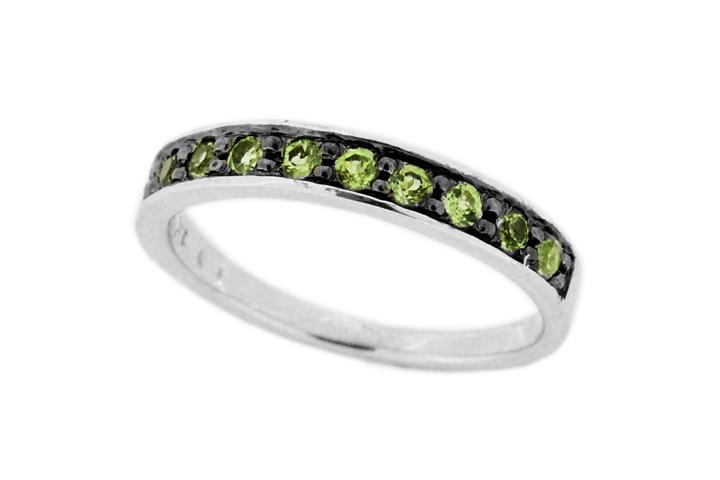 Peridot Silver Pave Stacking Ring
